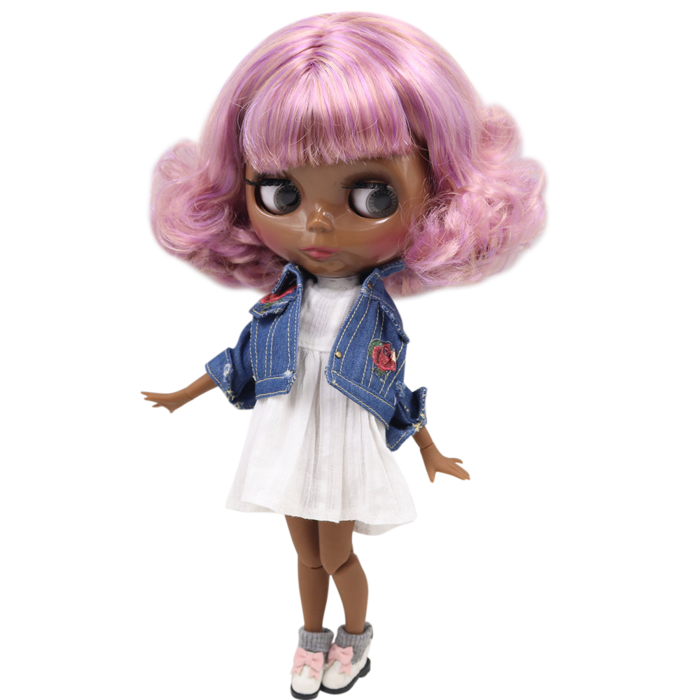 ICY Nude Blyth doll No BL2240 7216 Purple mix browm hair JOINT body Super Black skin
