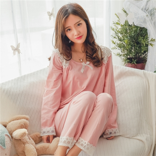 Princess sweet lolita pajama sets Knitted cotton pajamas Sweet hollowed out  spliced maiden lace pajamas home suit women QQ0106 e22e56fe7