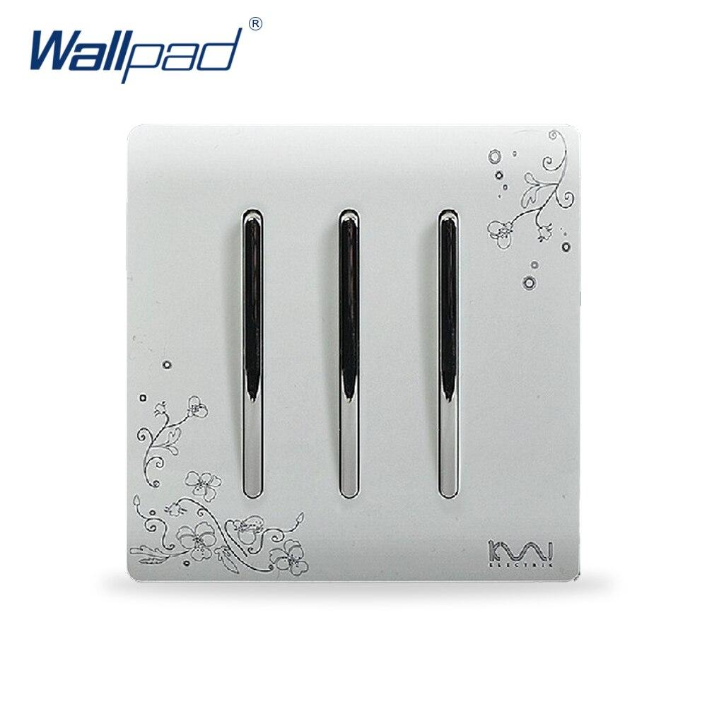 2018 Hot Sale Wallpad Luxury Wall Switch Panel 3 Gang 1 Way Light Switch C30 Series 110~250V