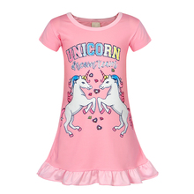 Toddler girls Rainbow Unicorn Pajamas Cotton printing sleepwear kids Short Sleeves Ruffle summer nightgowns children Nightdress недорого