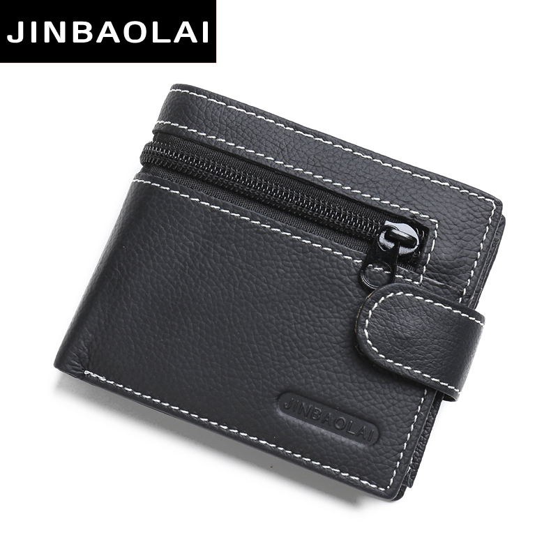 JINBAOLAI Wallet men genuine leather zipper hasp coin purse short male leather men wallets money bag quality guarantee carteira 2016 new arrival brand short crocodile men s wallet genuine leather quality guarantee purse for male coin purse free shipping