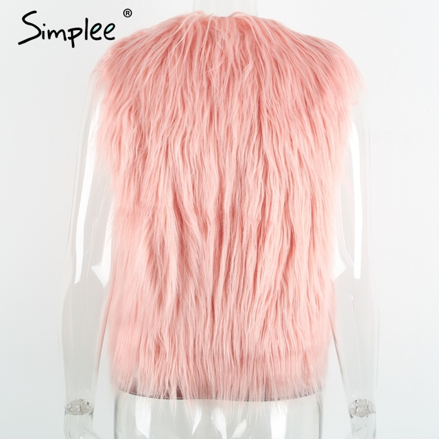 Simplee Faux fur pink women vest Autumn winter sleeveless white outerwear Hairy fluffy casual fashion overcoat 2018 8