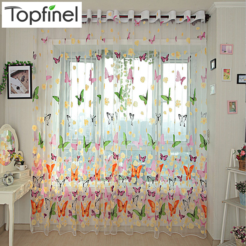Topfinel Farverig Butterfly Tulle på Windows Voile Sheer Gardiner til køkken Stue Bedroom Window Screening Drapes