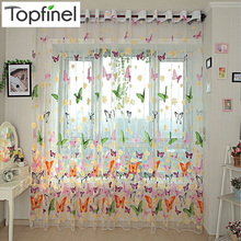 High quality finished butterfly tulle window curtain voile sheer Curtains for living room the bedroom window Screening drapes butterfly print sheer tulle window curtain
