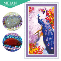 Meian 3D DIY Diamond Embroidery 5D Diamond Painting Diamond Mosaic Peacock Needlework Crafts Christmas Decor
