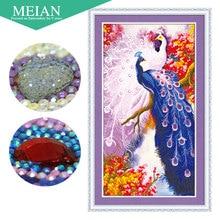 Meian 3d diy diamant stickerei, 5d diamant malerei, diamant mosaik, pfau, hand, handwerk, weihnachten, decor