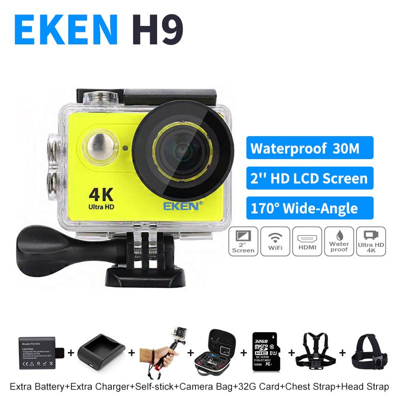 Prix pour EKEN H9 H9R Caméras D'action 4 K/25fps 1080 P 60fps 2.0 LCD 170D Caméra WiFi Casque Go Pro Caméra Étanche Sport Caméra Microphone