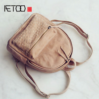 AETOO Spring And Summer New Original Culture Retro First Layer Of Leather Weave Shoulder Bag Female