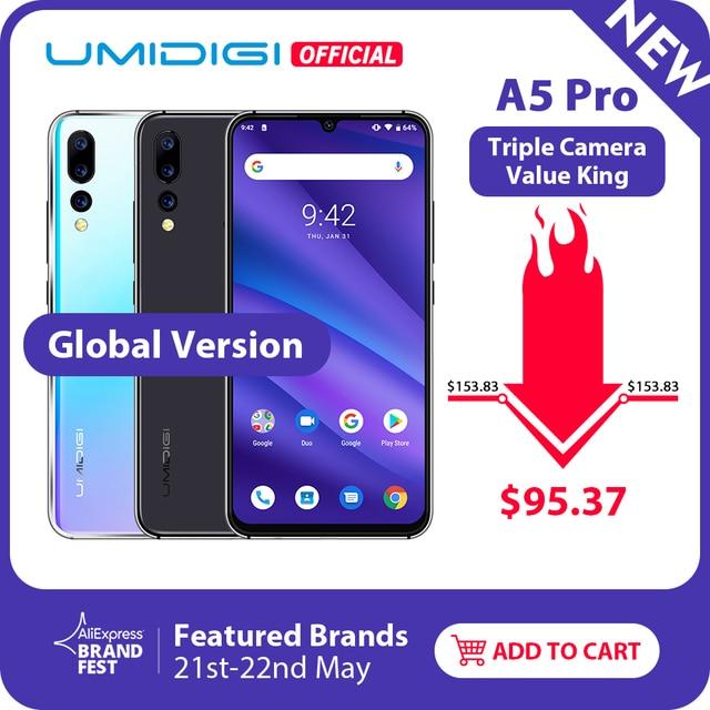 Pre-sale Global Version UMIDIGI A5 PRO Android 9.0 Octa Core 6.3' FHD+ 16MP Triple Camera 4150mAh 4GB RAM Celular Smartphone