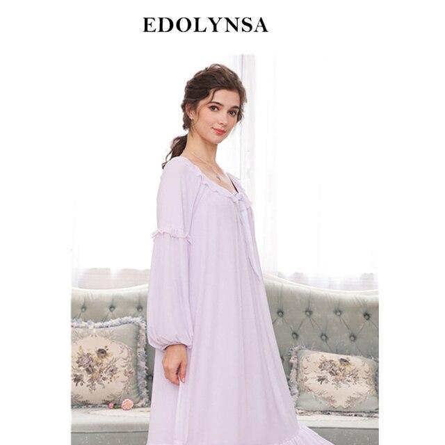 Autumn Sleepwear Women Vintage Nightgown Long Sleeve Lace Nightwear Purple  Ruffle Night Dress Princess Elegant Homewear H714 baea3ce35