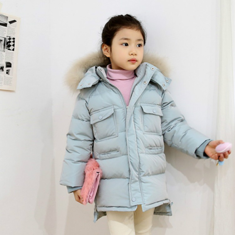 цены 2018 New Girls' Cotton Coats Winter Long Coat Female Korean Girls Slim Hooded Female Thick Jacket
