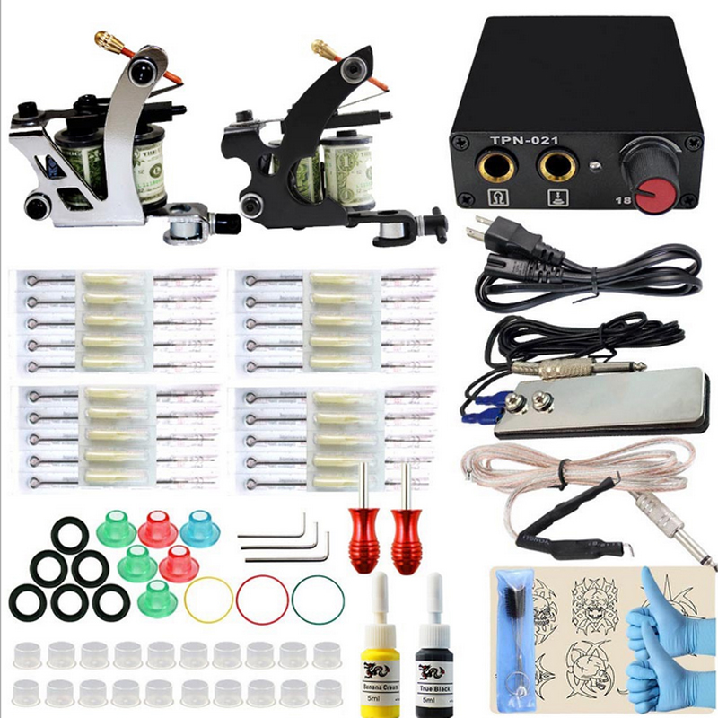 Professional Tattoo kit Complete Dual Tattoo set 2 Machine Gun two Color Inks Power Supply Cord Kit Body Beauty DIY Tools p80 panasonic super high cost complete air cutter torches torch head body straigh machine arc starting 12foot