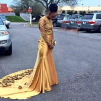 Vestido De Fiesta 2017 Sexy Gold Mermaid Prom Dresses With Golden Flowers Sheer Long Sleeves Open