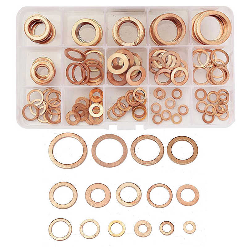 150pcs 15//Sizes Solid Copper Crush Washers Assorted Seal Flat Ring Gaskets w//Box