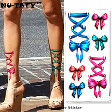 Nu-TATY Blue Pink Bowknot 3d Temporary Tattoo Body Art Flash Tattoo Stickers 19x9cm Waterproof Tatoo Home Decor Wall Sticker