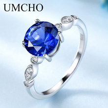 UMCHO Blue Sapphire Silver Ring Solid 925 Sterling Rings For Women Wedding Band September Birthstone Gemstone Gift