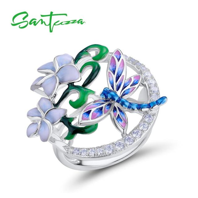 SANTUZZA Silver Ring For Women Pure 925 Sterling Silver Delicate Dragonfly Flower Cubic Zirconia Fashion Jewelry Handmade Enamel