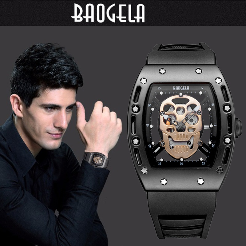 Brand Mens Silicone Analogue Quartz Watches Fashion Military Skeleton Wristwatch for Man Pirate Skull Style Clock