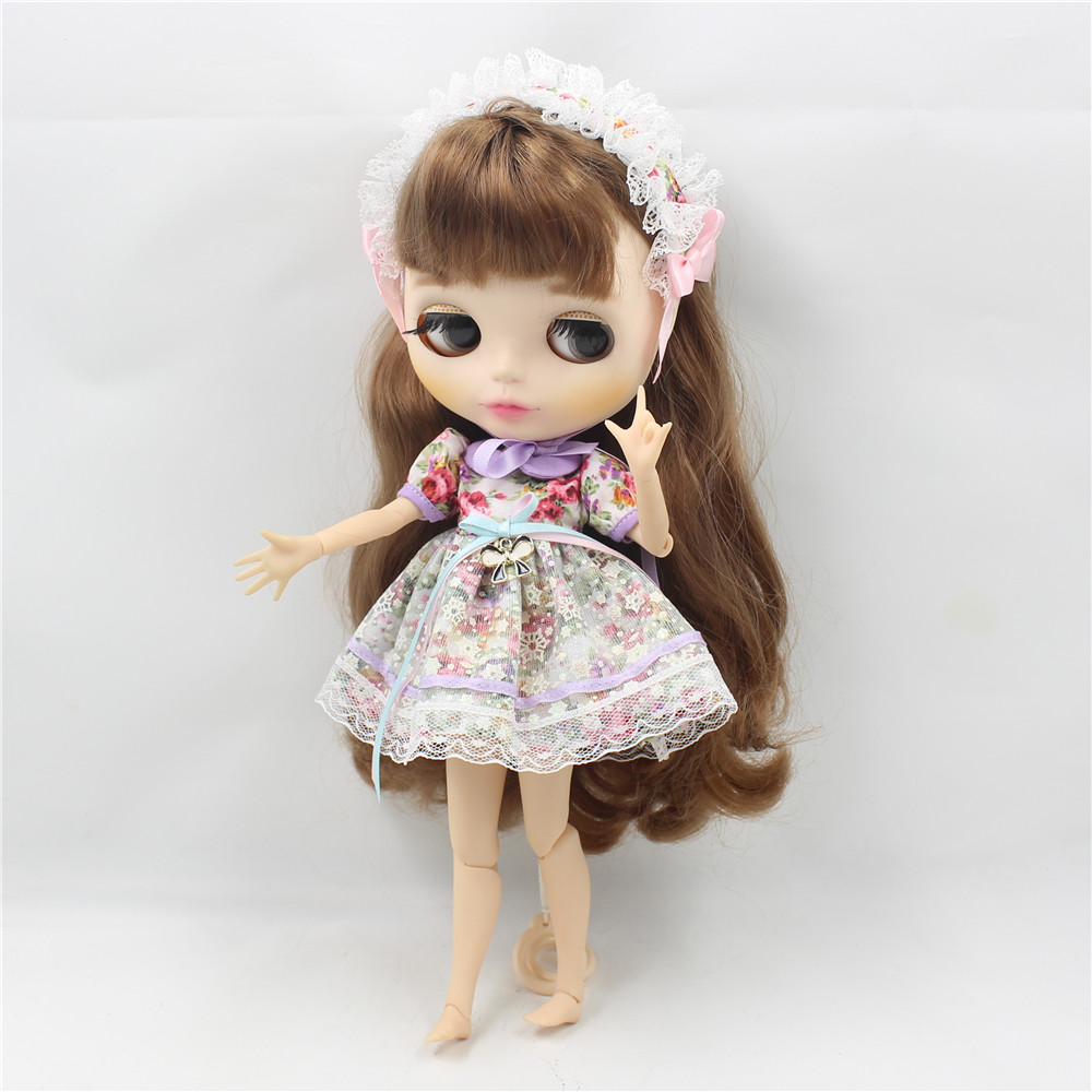 Neo Blythe Doll Vintage Floral Dress with Hairband 2