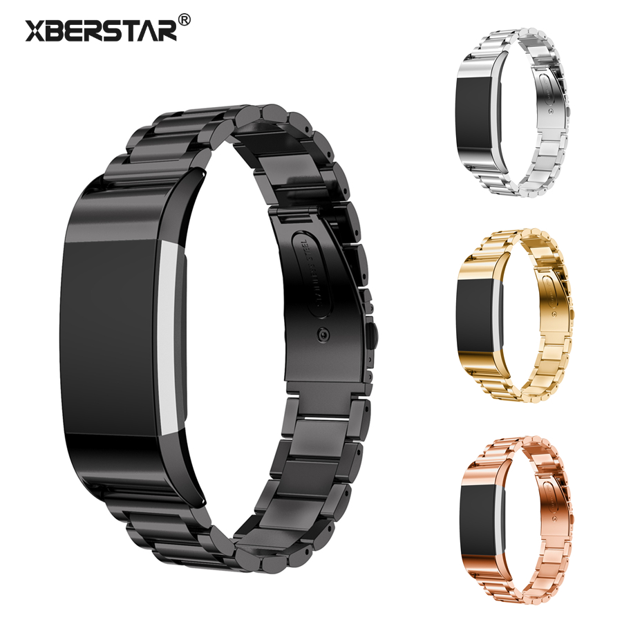 XBERSTAR Stainless Steel Watchband Strap for FITBIT Charge 2 Charge2 Heart Rate & Activity Tracker  Bracelet crested stainless steel watch band for fitbit charge 2 bracelet smart watch strap for fitbit charge2 with connector