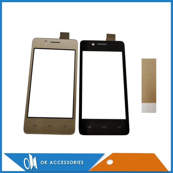Gold Black Color For Micromax Bolt Q402 Touch Screen Digitizer Panel Replacement Front Glass Touchscreen With Tape 1PC/Lot