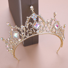 Wedding Hair Tiara Crystal Crown Bridal Accessories Gold Head Women Ornaments Diadem