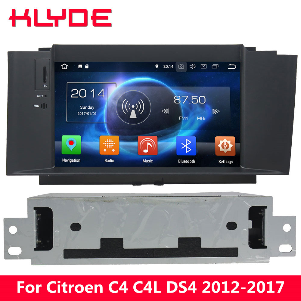 цена на KLYDE Octa Core 4G Android 8.0 4GB RAM 32GB ROM Car DVD Player Radio Stereo For Citroen C4 C4L DS4 2012 2013 2014 2015 2016 2017