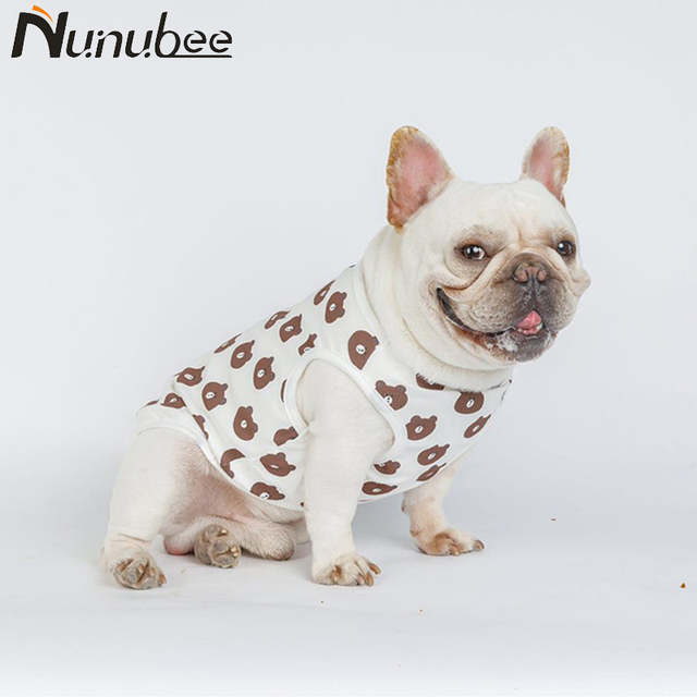 Nunubee Dog Vest Bear Pattern Pet Dog Clothes French Bulldog Costume Cool Dog Jacket Pattern