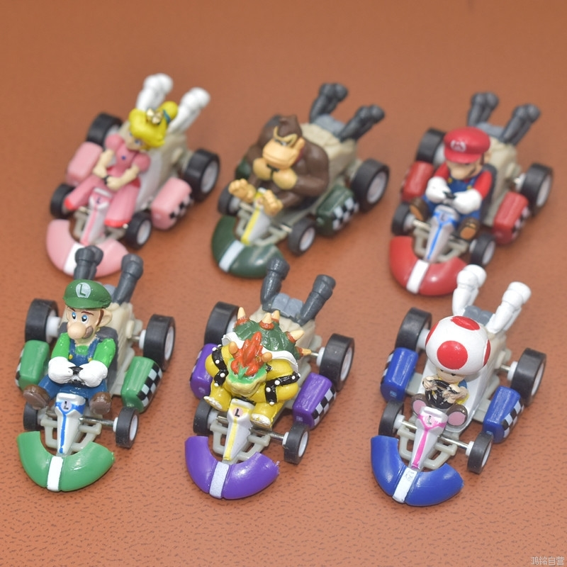50pcs high quality 5cm size Super mario brothers Action Figures Karting car toy PVC kids collection