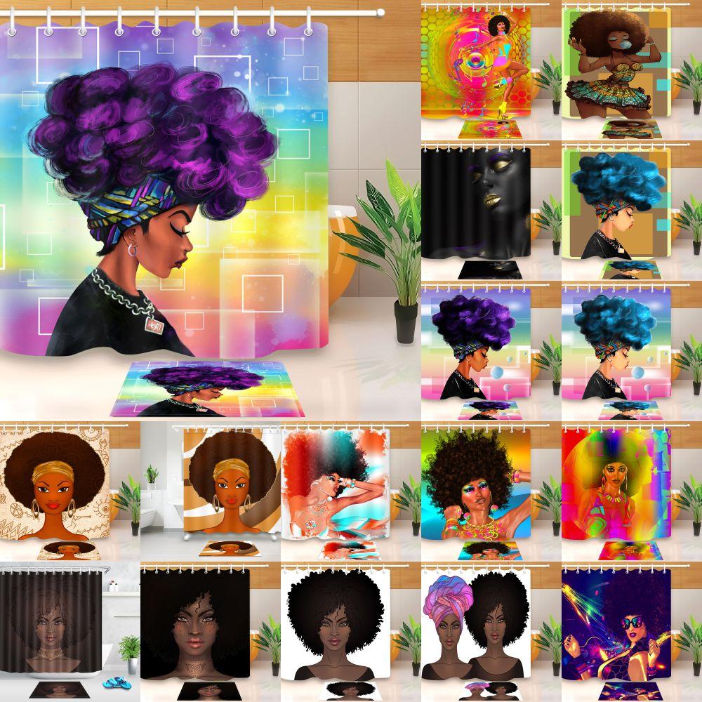LB Extra Long Bathroom Waterproof Afro Girl African