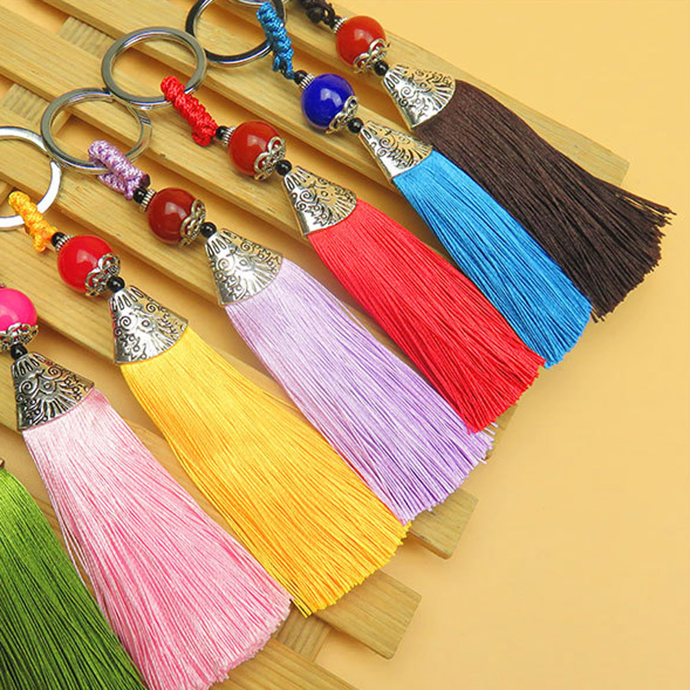 Hot selling Colorful Key Chains Bag Accessories Ice Silk 10 colors Tassel Pompom Car Keychain Handbag Key Ring Jewelry For Women