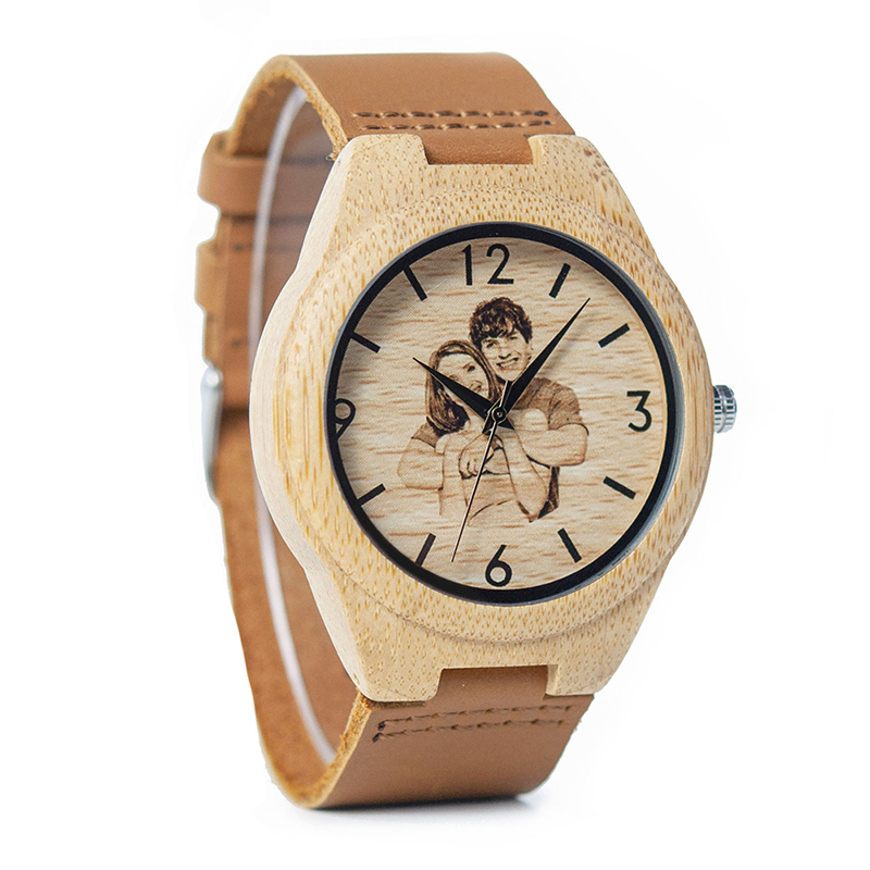 Personalized Picture Printed Wooden Watch with a Gift Box 5