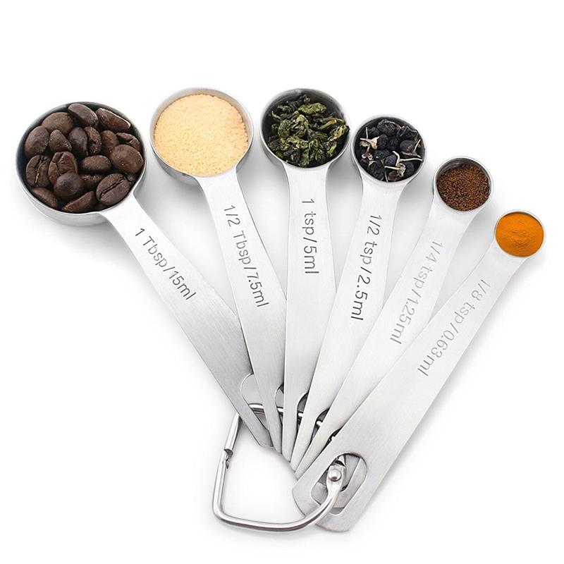 6pcs Stainless Steel Measuring Spoons Set Collapsible Folding Seasoning Measuring Cup And Spoon Set Folding Baking Cooking Tool