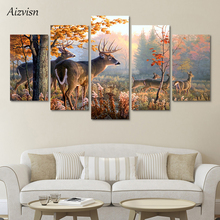 Aizvisn 5 Panel Forest Wonderland Animal Deer Wall Art Picture Home Decoration Poster Canvas Printings Modular Painting