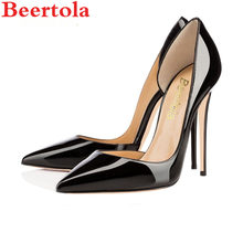 643b476d861c Beertola Woman Shoes Stiletto High Heels Woman Pumps Pointed Toe Shallow  Wedding Party Black Nude Patent Leather Dress Pump
