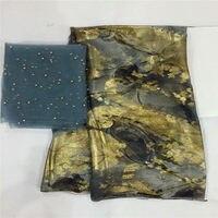 Высокое качество шелковой ткани для леди платье вышитые Джордж шелковой ткани Африканский металлический шелк 5 + 2 ярдов! L30835