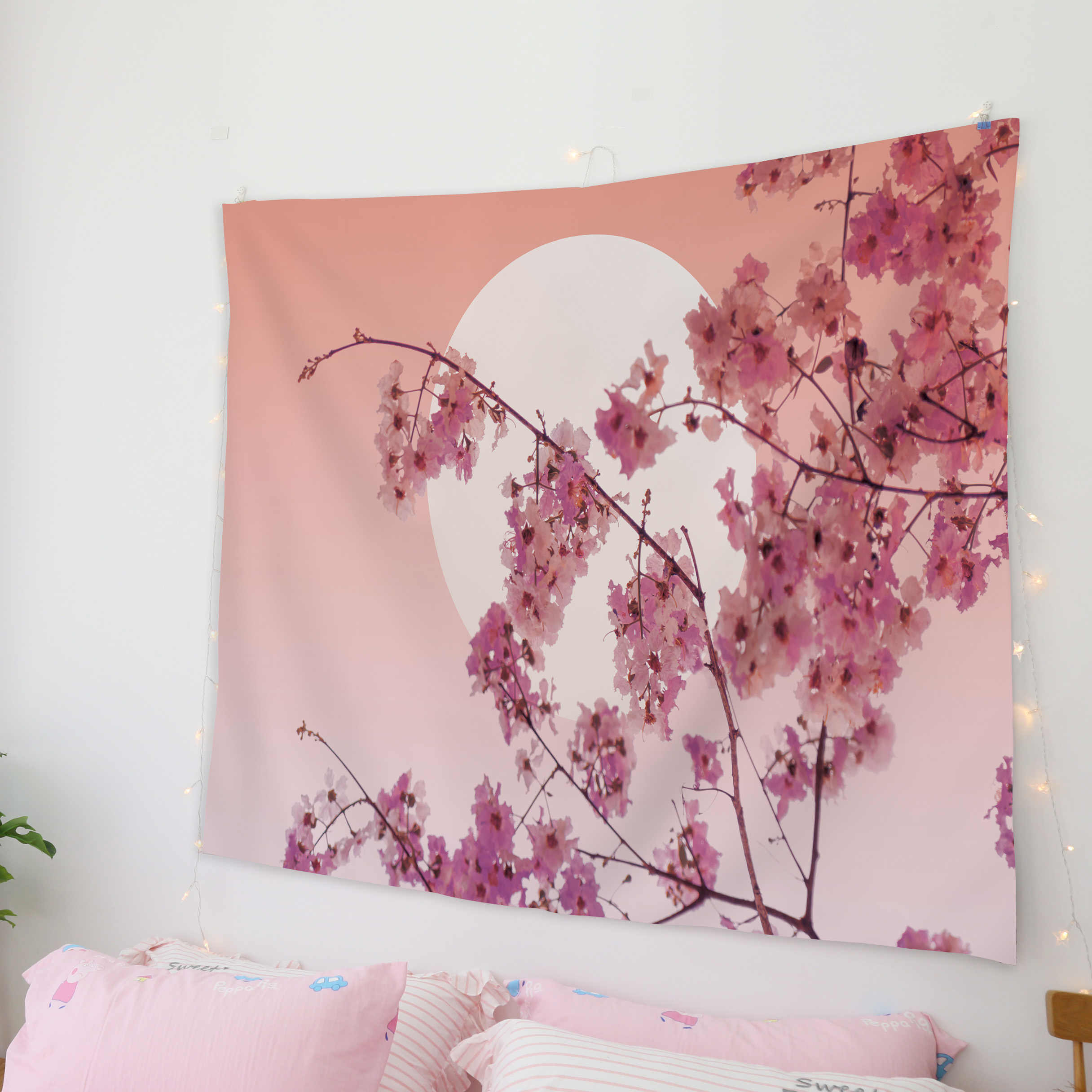 Goohome Japanese Sakura Cherry Blossoms Wall Decor Wall Decor Tapestries Tapestry Wall Art Coverlet Curtain Throw Sheet Fast Dry