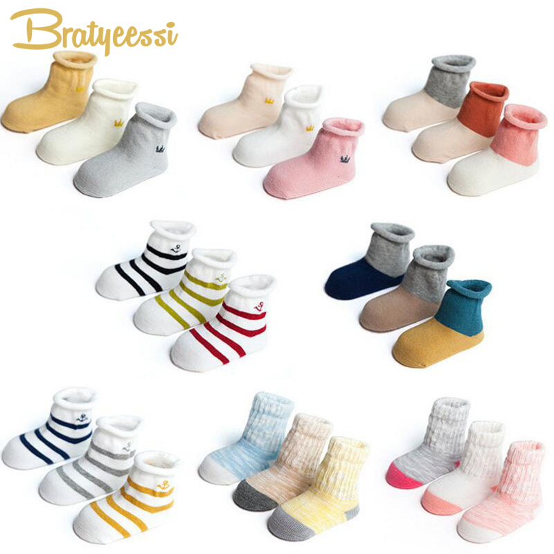 Cotton Newborn Socks Infant Toddler Baby Socks for 0-3 Years No Bone Multicolor 3 Pairs/Lot 5 pairs of fashionable multicolor stripe pattern socks for men