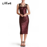 Sequin Dress Elegant Sexy Women Night Club Bandage Blackless Slimming Black Red Black Casual Party Dress
