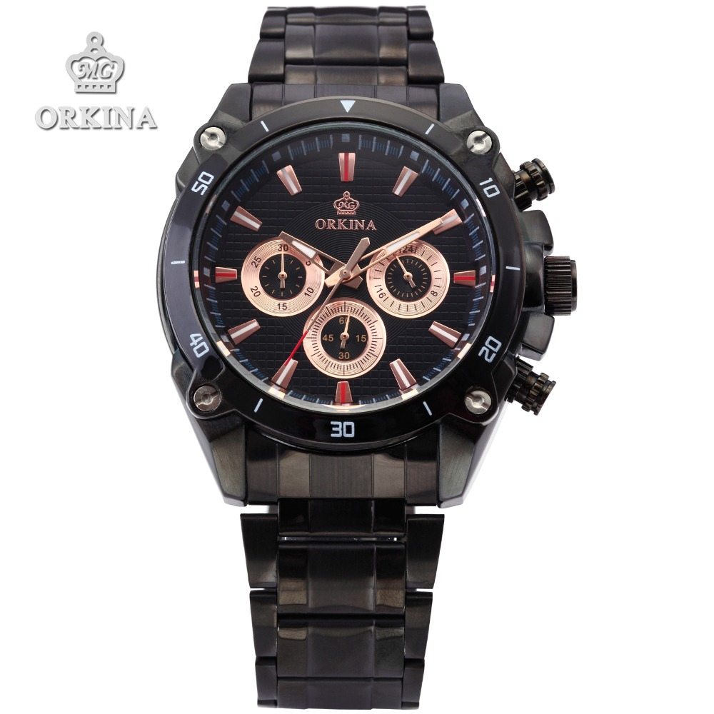Orkina Brand Mens Quartz Analog Stop Wrist Watch 2016 Men Black Stainless Steel Case Black Dial Clock Male Sports Fashion Watch super speed v6 v0153 by check dial quartz wrist watch for men black yellow while 1 x lr626