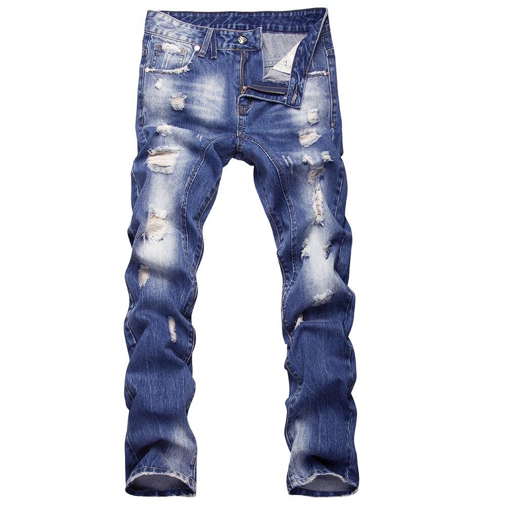 Fashion ripped hole jeans men Patch Beggar Pants Pockets Jeans Mens denim pants straight trousers for men distressed jeans 2017 fashion patch jeans men slim straight denim jeans ripped trousers new famous brand biker jeans logo mens zipper jeans 604