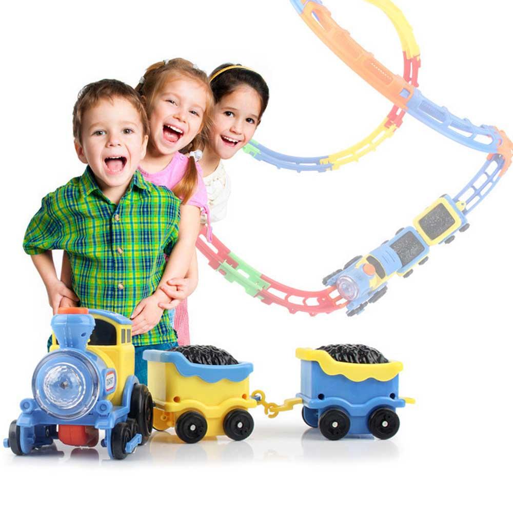 Kidstime DIY Flip Electric Locomotive Rail Car Simulate Railway Twister Track Lamplight Music Kids Gifts