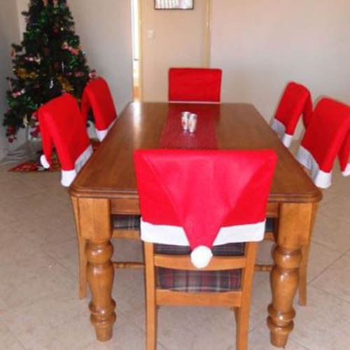 6pcs Christmas Santa Claus Chair Cover Fabric Hat Slip Covers Kitchen Free Shipping
