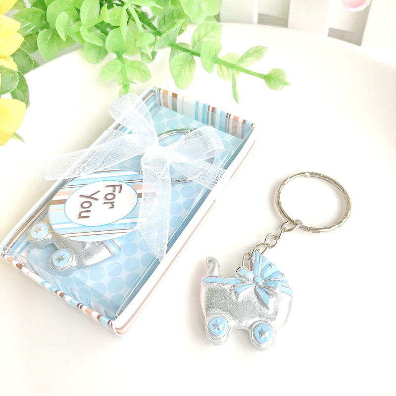 Rectangle Caravan Metal Keyring Keys Supplied With Gift Box Blue Design
