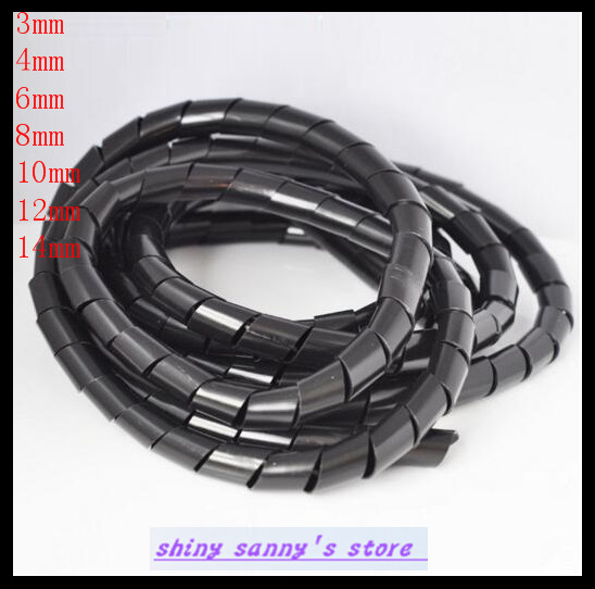 10M Long Flexible Polyethylene Spiral Cable Wire Wrap Tube 8mm 1pcs