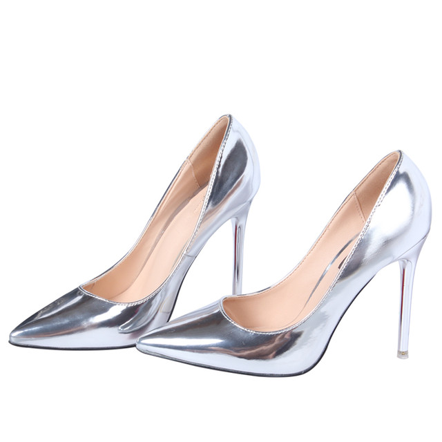 69dc33d010 Hot 2018 Spring Autumn Women Pumps Sexy Gold Silver High Heels Shoes  Fashion Pointed Toe Wedding Shoes Party Women Shoes