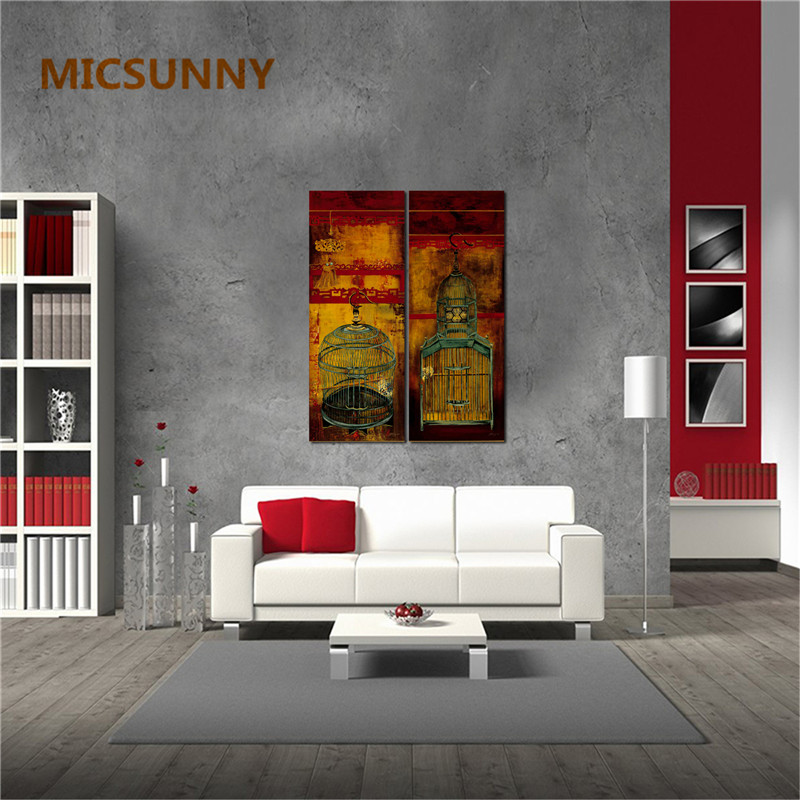 MICSUNNY No Poster Frame Asian Vintage Home Office Decor For Living Room  Wall Bird Cage Art Prints Classic Pictures And Painting In Painting U0026  Calligraphy ...