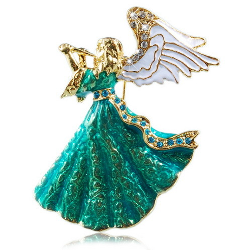 Rinhoo Vintage Music Angle Brooch Green & White Crystal Brooch Pins for Women Girl Dress Accessories Jewelry Hijab Gift