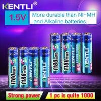Tüketici Elektroniği'ten Yedek Piller'de KENTLI 8 adet hiçbir hafıza etkisi 1.5v 1180mWh AAA polimer lityum li ion şarj edilebilir piller aaa pil termometre