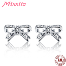 MISSITA 100% 925 Sterling Silver Lovely Bowknot Earrings for Women Jewelry Brand Wedding Stud HOT SELL Gift